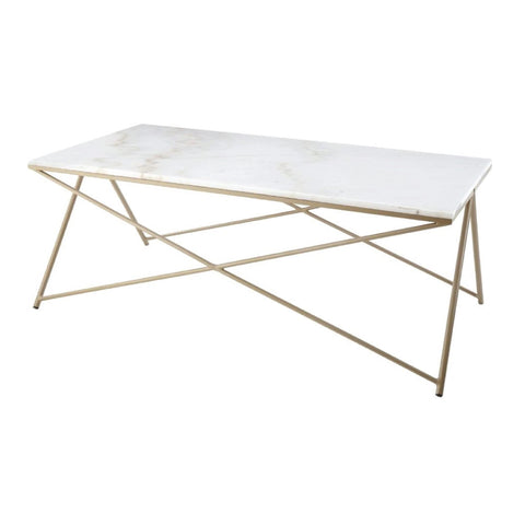Niall, gold finish & marble top coffee table