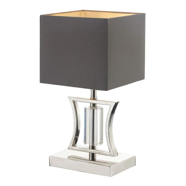 Aberto, satin nickel finish and crystal small table lamp-RVAstley-Olivia's