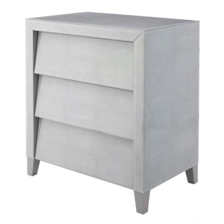 RV Astley Colby Shagreen Soft Grey Chest With Gloss Finish-RVAstley-Olivia's