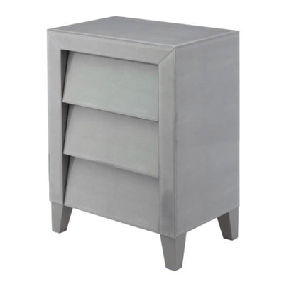 RV Astley Colby, Shagreen Soft Grey Side Table And Gloss Finish-RVAstley-Olivia's