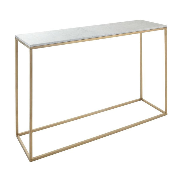 Faceby Brushed Gold Finish & Marble Console-RVAstley-Olivia's