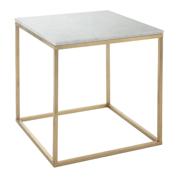 Faceby, brushed gold finish and marble top side table-RVAstley-Olivia's