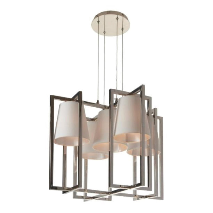RV Astley Hurricane Nickel Finish 5 Light Square Chandelier-RVAstley-Olivia's