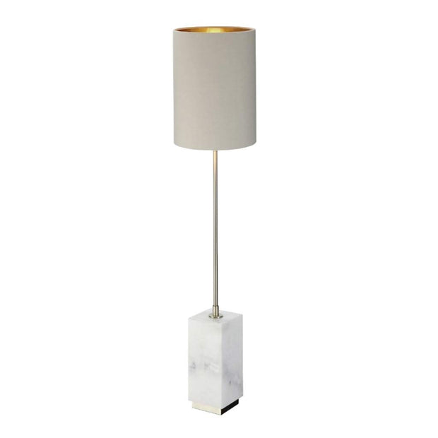 Lindau, white marble and antique brass table lamp-RVAstley-Olivia's