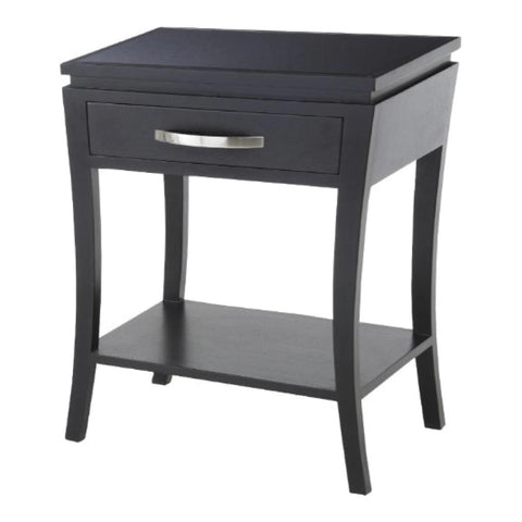 Modena Bedside Black with Glass Top