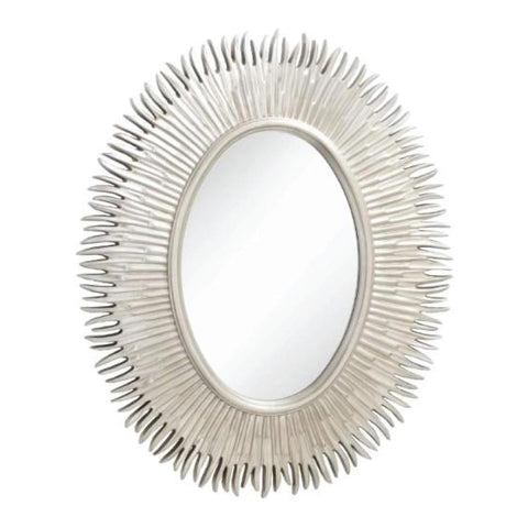 RV Astley Moher, Silver Leaf Finish Oval Mirror