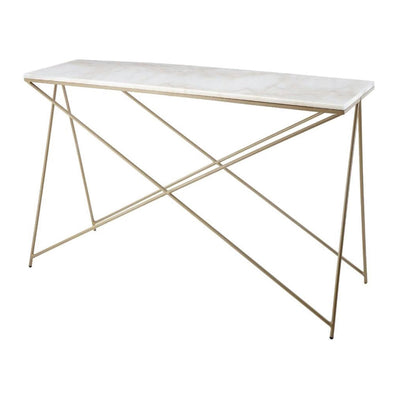 RV Astley Niall White Marble & Gold Finish Console Table-RVAstley-Olivia's