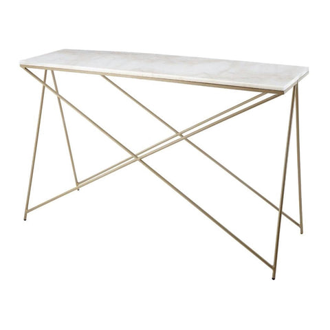 RV Astley Niall White Marble & Gold Finish Console Table