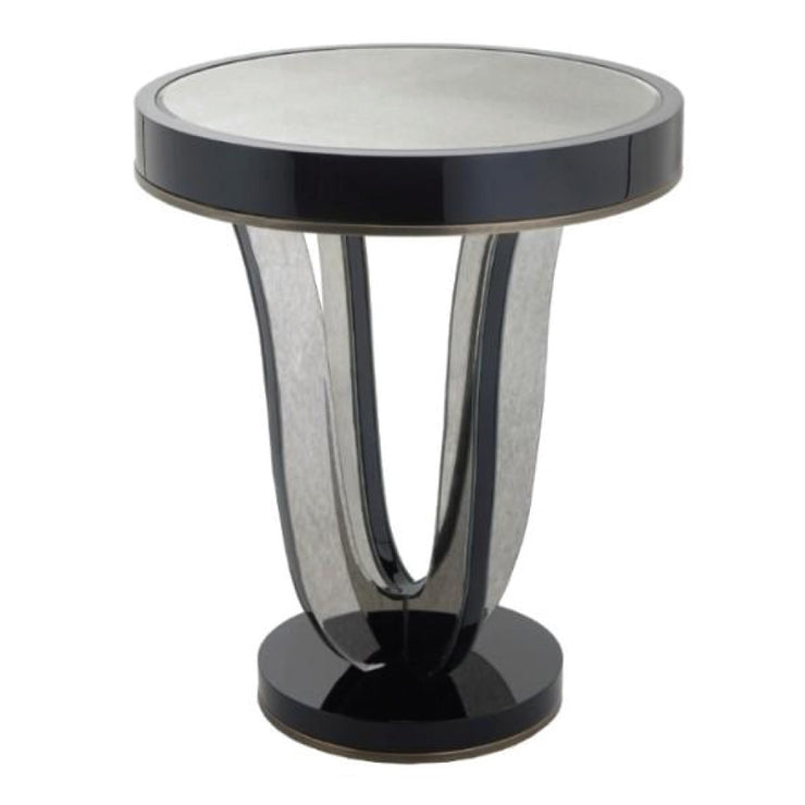 RV Astley Termon Gloss Black And Antique Mirror Side Table-RVAstley-Olivia's