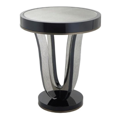 RV Astley Termon Gloss Black And Antique Mirror Side Table