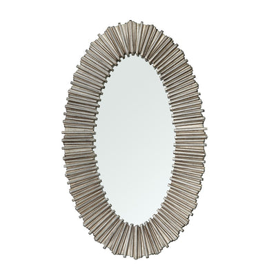 RV Astley Dagny, Distressed Silver Finish Oval Wall Mirror-RVAstley-Olivia's