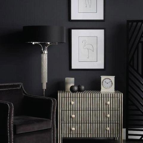 Libra Metal Floor Lamp In Nickel Finish With Black Shade