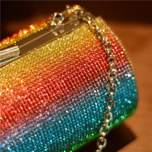 Rainbow Rhinestone Clutch
