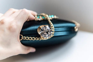 Green Pearl Flowers Clutch