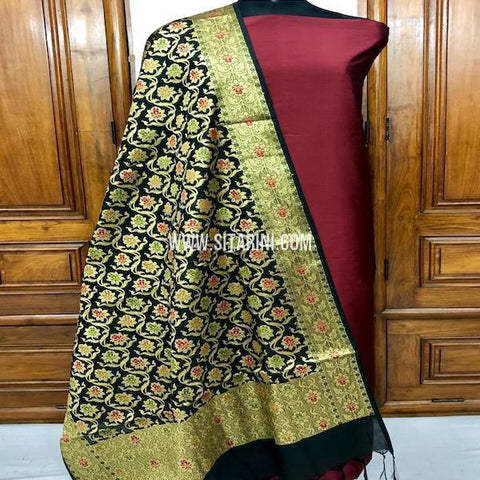 Banarasi Cotton Silk Dress Material(3pcs)-Sitarini-SITBCSDM140