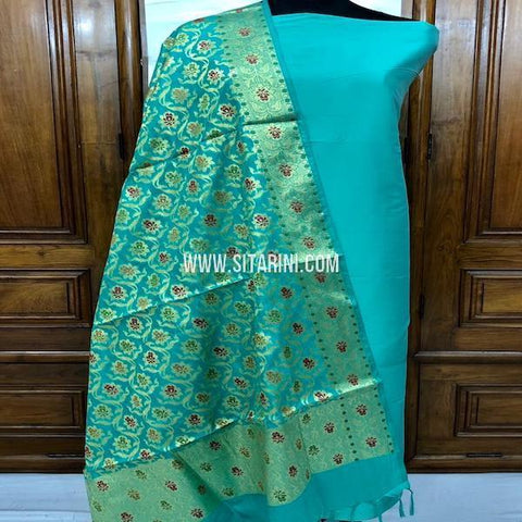 Banarasi Cotton Silk Dress Material(3pcs)-Sitarini-SITBCSDM141