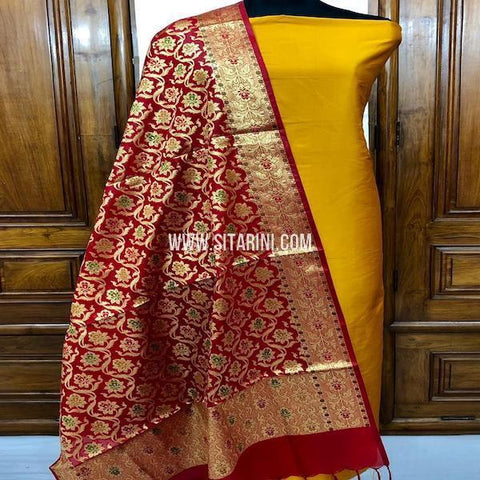 Banarasi Cotton Silk Dress Material(3pcs)-Sitarini-SITBCSDM142