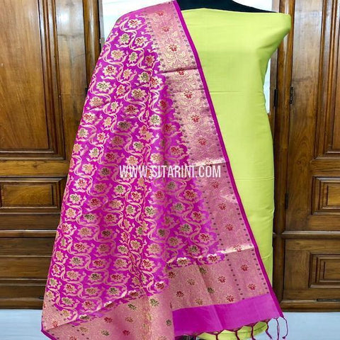 Banarasi Cotton Silk Dress Material(3pcs)-Sitarini-SITBCSDM144
