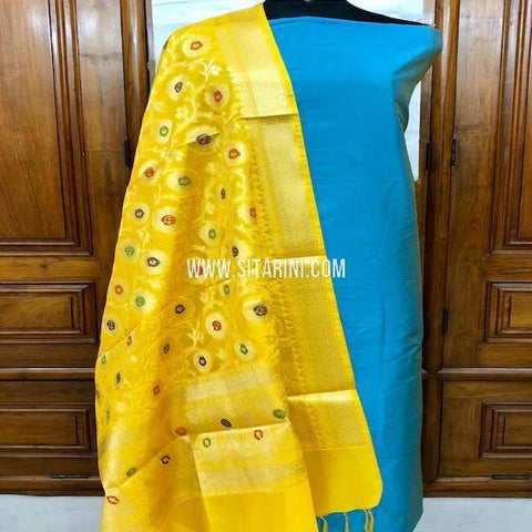 Banarasi Cotton Silk Dress Material(3pcs)-Sitarini-SITBCSDM147