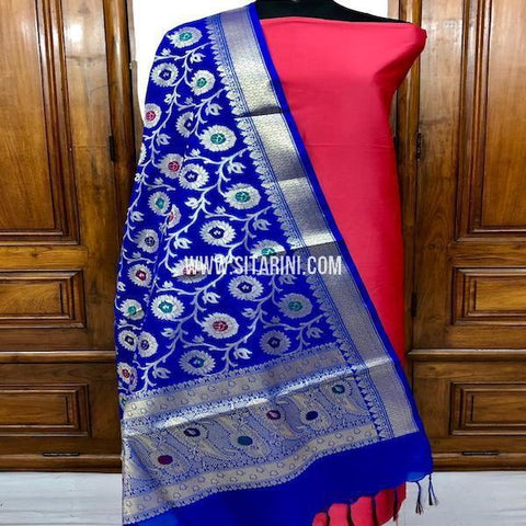 Banarasi Dress Material-Cotton Silk(3pcs)-Sitarini-SITBCSDM148
