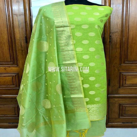Banarasi Dress Material-Cotton Silk(3pcs)-Sitarini-SITBCSDM151