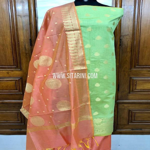 Banarasi Dress Material-Cotton Silk(3pcs)-Sitarini-SITBCSDM153