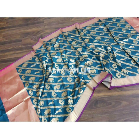 Banarasi Dupattas-Silk- Light Blue and Gold-Sitarini-BHABD102