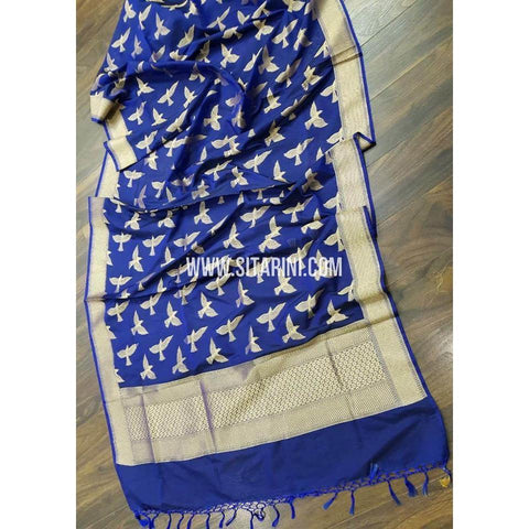 Banarasi Dupattas-Silk- Royal Blue and Gold-Sitarini-BHABD103