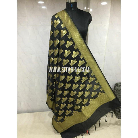 Banarasi Semi Katan Silk Dupattas- Black and Gold-Sitarini-BSHBSD101