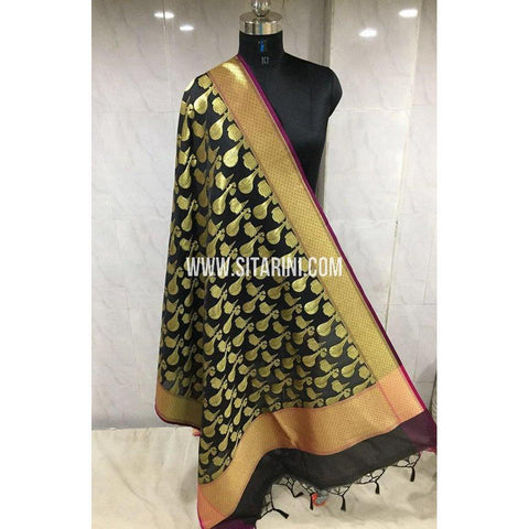 Banarasi Semi Katan Silk Dupattas- Black and Gold-Sitarini-BSHBSD108