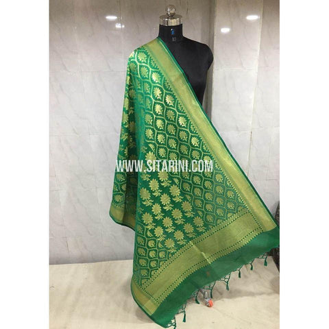 Banarasi Semi Katan Silk Dupattas- Dark Green and Gold-Sitarini-BSHBSD110