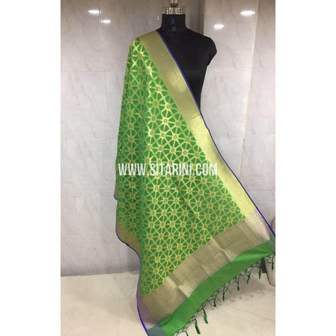 Banarasi Semi Katan Silk Dupattas-Light Green and Gold-Sitarini-BSHBSD112