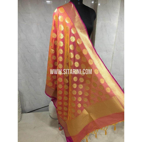 Banarasi Semi Katan Silk Dupattas-Light Orange and Gold-Sitarini-BSHBSD117