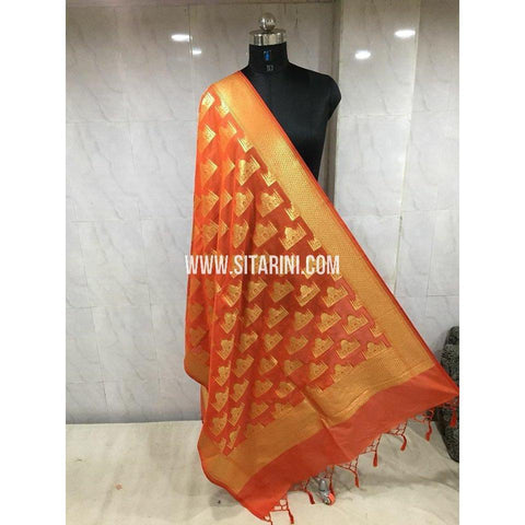 Banarasi Semi Katan Silk Dupattas- Orange and Gold-Sitarini-BSHBSD107