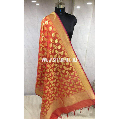 Banarasi Semi Katan Silk Dupattas-Orange and Gold-Sitarini-BSHBSD116