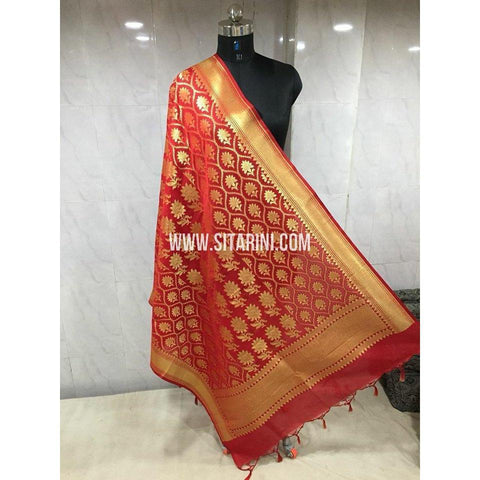 Banarasi Semi Katan Silk Dupattas- Red and Gold-Sitarini-BSHBSD100