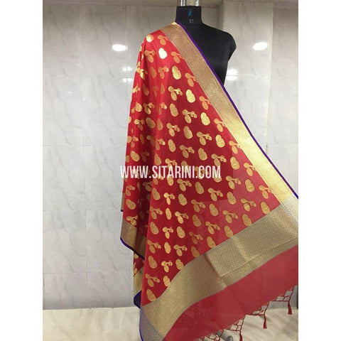 Banarasi Semi Katan Silk Dupattas-Red and Gold-Sitarini-BSHBSD103