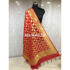 Banarasi Semi Katan Silk Dupattas- Red and Gold-Sitarini-BSHBSD106