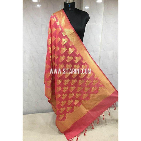 Banarasi Semi Katan Silk Dupattas- Red and Gold-Sitarini-BSHBSD111