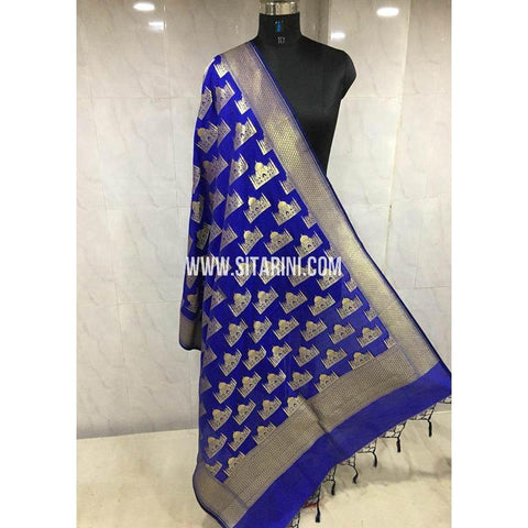 Banarasi Semi Katan Silk Dupattas-Royal Blue and Gold-Sitarini-BSHBSD113