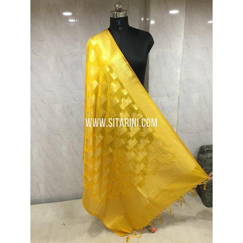 Banarasi Semi Katan Silk Dupattas- Yellow and Gold-Sitarini-BSHBSD105
