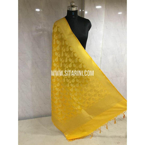 Banarasi Semi Katan Silk Dupattas- Yellow and Gold-Sitarini-BSHBSD109