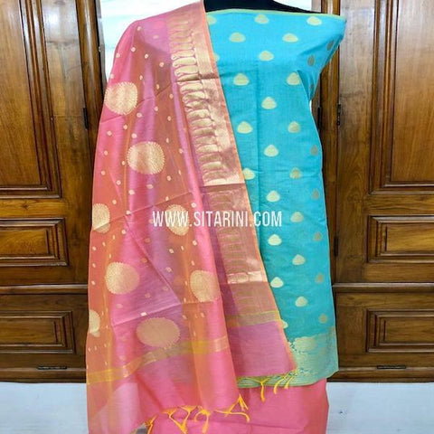 Banarasi Silk Cotton Dress Material-(3pcs)-Sitarini-SITBCSDM154
