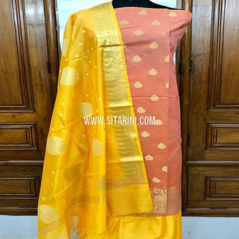 Banarasi Silk Cotton Dress Material-(3pcs)-Sitarini-SITBCSDM155