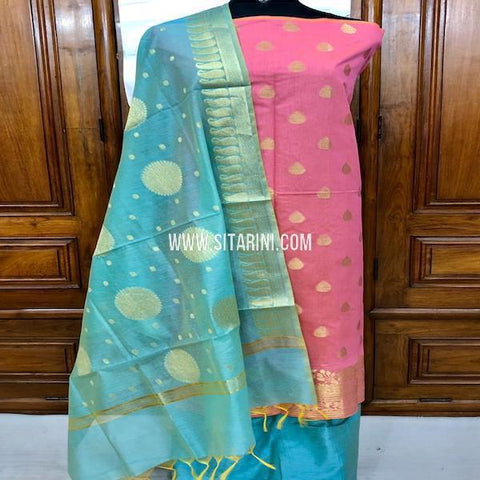 Banarasi Silk Cotton Dress Material-(3pcs)-Sitarini-SITBCSDM156
