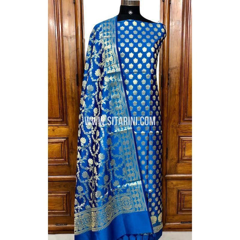 Banarasi Silk Cotton Dress Material(3pcs)-Blue-Sitarini-SITBCSDM110