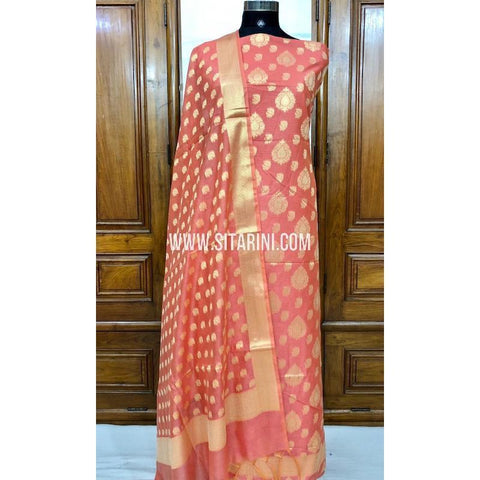 Banarasi Silk Cotton Dress Material(3pcs)-Dark Peach-Sitarini-SITBCSDM118