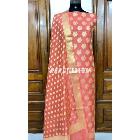 Banarasi Silk Cotton Dress Material(3pcs)-Dark Peach-Sitarini-SITBCSDM119