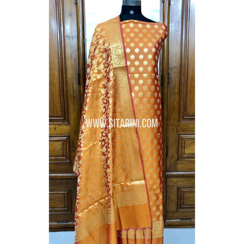 Banarasi Silk Cotton Dress Material(3pcs)-Golden Yellow-Sitarini-SITBCSDM108