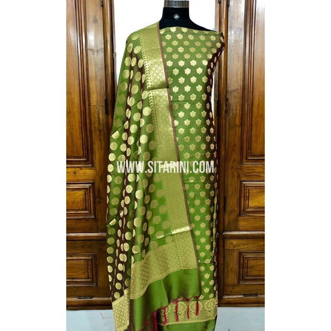 Banarasi Silk Cotton Dress Material(3pcs)-Green-Sitarini-SITBCSDM114
